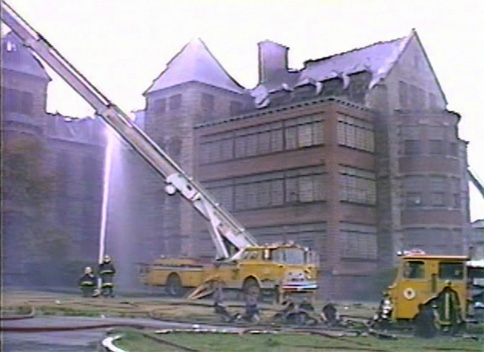 Firefighters putting out the fire at Worcester State Hospital